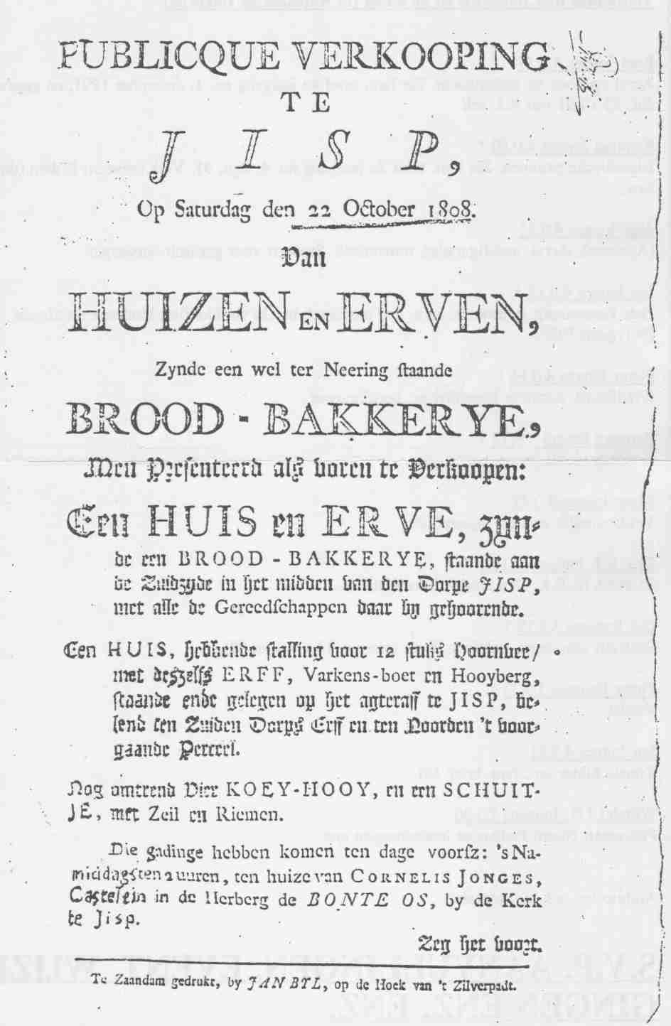 Publieke verkoping in herberg van Cornelis Jonges 1.0.29