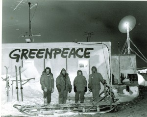 De bemanning van World Park Base 1988, vlnr Sjoerd, Keith, Sabine en Wojtek
